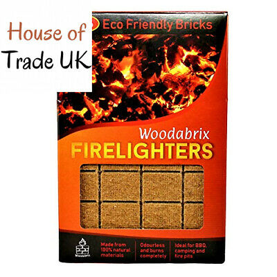 Natural Wood Eco Firelighters 96 pcs. Ideal for Indoor and 1 box (96 pcs)