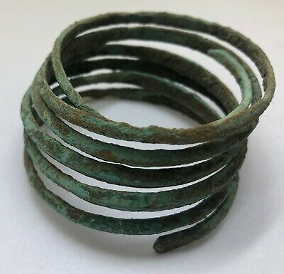 Authentic Ancient Lake Ladoga VIKING Artifact > Bronze Spiral Bracelet  VV82