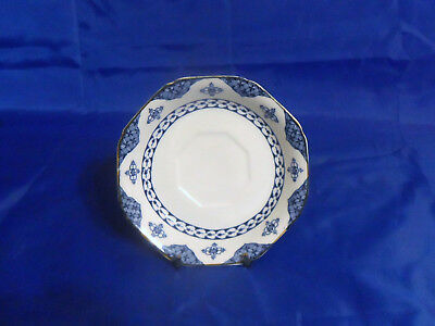 Wood & Sons Blue Bombay SAUCER for Flat Cup - Blue Flowers, Mustard Trim