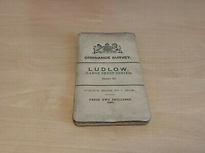 Early 1900s Ordnance Survey Cloth Large Sheet Series Map Ludlow (Sheet 22)