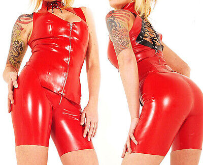 Latex Catsuit Gummi Red Polo shirt Handmade coat Ganzanzug Anzug Suit S-XXL