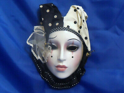 CLAY ART Deco Jester Lady Head Face Wall Hanging Mask w/ Polka Dots & Bells