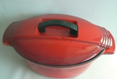 Le Creuset Cast Iron Large Oval Casserole Lidded Dish Red No  27 - 11 inches