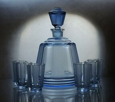 Art Deco Czech Bohemian Sapphire Blue Faceted Glass Decanter/Carafe Set