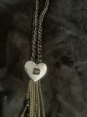 """Western Tie Beaded Rope Necklace With Heart 18"""" Long To Tip Of Fringe"""