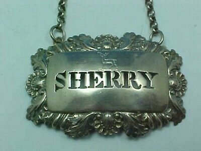 "Rare Armorial Crest Sterling Silver Decanter Wine Label ""Sherry"" 1829 Lv&W B'ham"