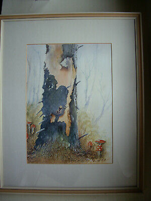 old vintage original signed watercolour painting