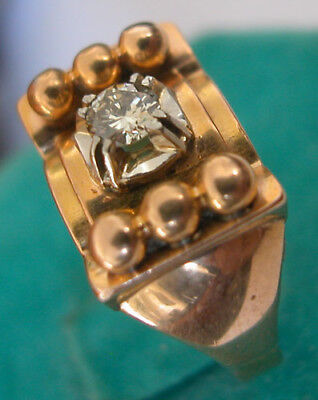 1920 Art Deco French 18 Karats Gold Ring Diamond Solitaire
