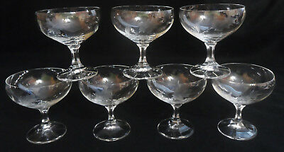 Crystal Etched Leaves Stems & Flower Champagne/Tall Sherbet Glasses - Set of 7