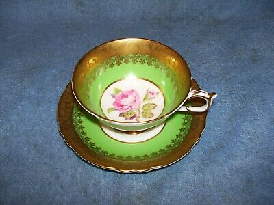 Gold Green Warrant Appoint Queen Paragon Large Pink Rose Tea Cup Saucer A4023/1