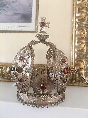 CODY FOSTER Regal Jeweled SANTO CROWN Aged Tin With Rhinestones