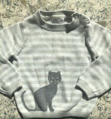 Little White Company Girls Striped Cat Jumper 1.5-2 Years 18-24 Months