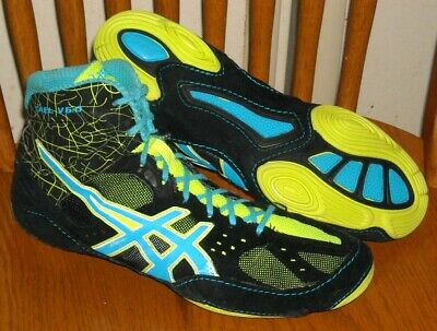 ASICS CAEL V6.0 Wrestling Shoes Mens Adult Size 10.5 Model J401Y Black Blue EUC!