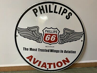 12in PHILLIPS 66 Aviation GASOLINE PORCELAIN SIGN OIL GAS PUMP PLATE
