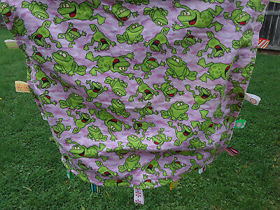 Soft HandMade Purple Pink Frogs Baby Blanket with Play Tags