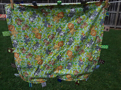 Soft HandMade Green Lime Lions Pandas Baby Blanket with Play Tags