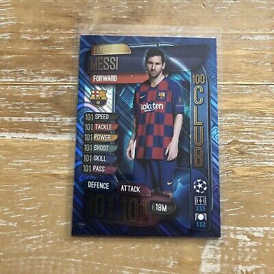 Topps Match Attax 2019/20 100 Club Lionel Messi Barcelona 101 MINT