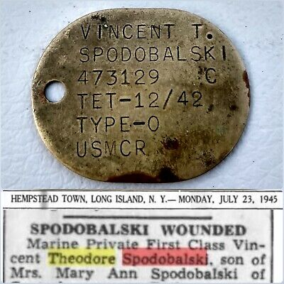 WIA Pacific 1942 WWII USMC Thumbprint Dog Tag Identified Wounded