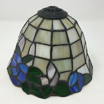 """Vintage Leaded Stained Art Slag Glass Lamp Shade Tiffany Style 8"""" Diameter"""