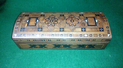 vintage / antique Mosaic inlaid Trinket Box with mother of pearl