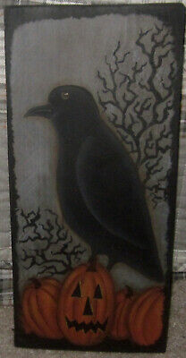 *~*Primitive*~* Hp Folk Art Prim  Crow * Jack-O-Lantern * Gnarly Tree *~* Board