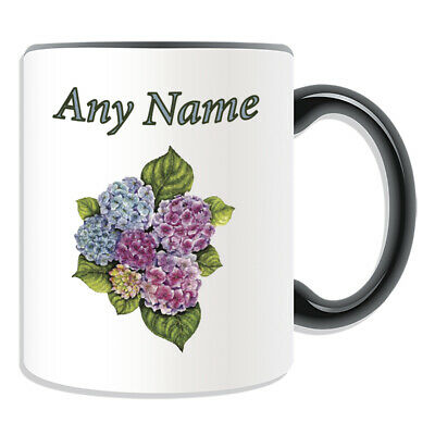 Personalised Gift Hydrangeas Colour Mug Cup Birthday Christmas Name Text Her Kid