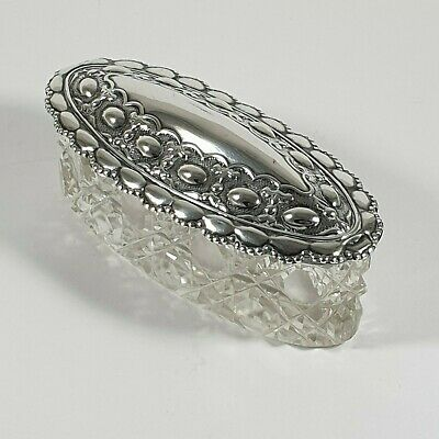 Antique Silver Lidded Oval Box Embossed Silver & Glass Sheffield 1906 Maker WD