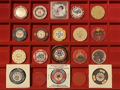 Lot Of 20 Casino Chips, Route 66 Silver Palace Trump Roulette Chip, Rat Pack