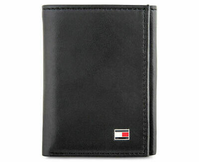 Mens Tommy Hilfiger Genuine Leather Oxford Slim Trifold Wallet Black Gift Boxed