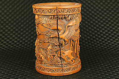 chinese old boxwood hand carved eagle brush pot part flaw