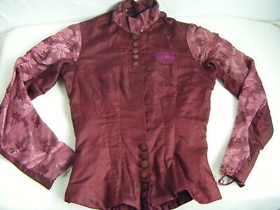 Antique Victorian Burgundy Brocade Girl Jacket-Bust 31/L-XL, AS-IS