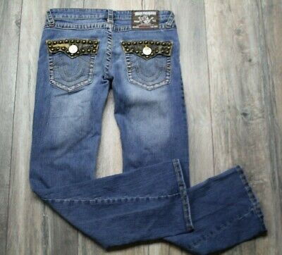 True Religion Womens Size 30 Joey Super T Jeans Medium Wash Back Pocket Studs