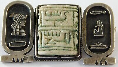 Vtg Art Deco Egyptian Revival Hieroglyphics Sterling Silver Stone Pin Brooch