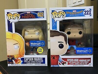 Funko Pop Exclusive Walmart Lot Bundle Spiderman #223 & Captain Marvel #432 New