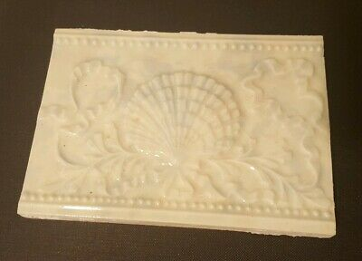 Antique Victorian Tile with Scallop Shell by Old Bridge