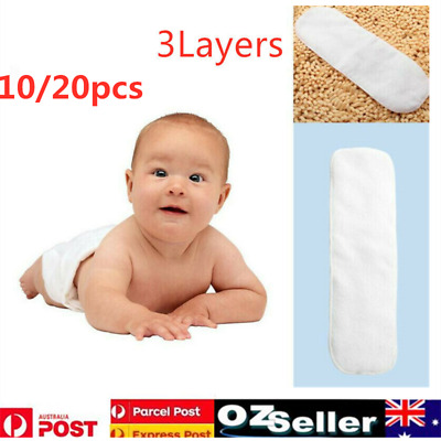 10/20Pcs Reusable 3 Layers Bamboo Inserts Liner For Modern Nappy Cloth Diaper AU