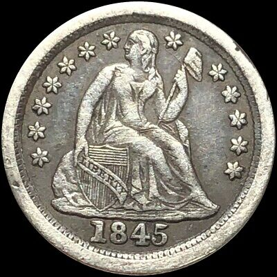 1845-O Seated Dime NICELY CIRCULATED New Orleans Liberty Silver High End Coin