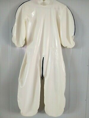 Hot Sale Latex 100% Rubber Catsuit Loose Zipper Cosplay Party White Woman S-XXL