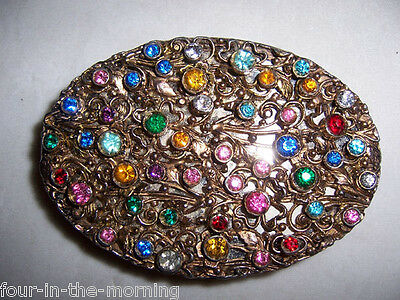 Vintage Jeweled Compact Case Mirror Guilloche Silver Wash Flowers Leaves