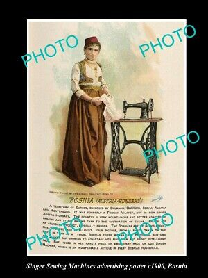 OLD LARGE HISTORIC PHOTO OF SINGER SEWING MACHINE AD POSTER c1900 BOSNIA
