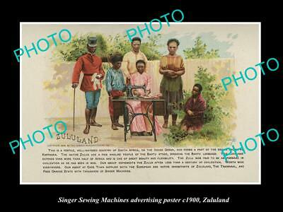 OLD LARGE HISTORIC PHOTO OF SINGER SEWING MACHINE AD POSTER c1900 ZULULAND