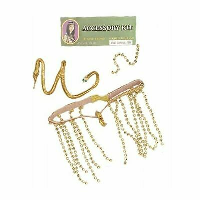 Women Egyptian Queen Cleopatra Gold Crown And Armband Kit Ladies Ancient Jewelry