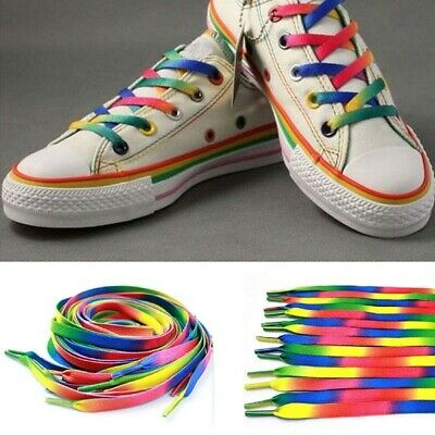 NEW Flat Knitted Rainbow Shoelace Sports Shoe Laces Strings Strings Strap 120cm