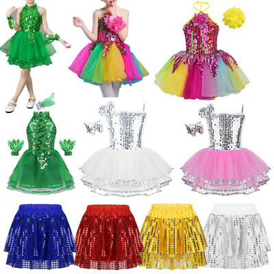 Girls Jazz Sequins Dance Dress Kids Hip Hop Performance Shiny Tutu Skirt Costume