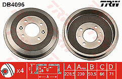 Fits Partner & Berlingo 96-08 Rear Brake Drums 228.2mm