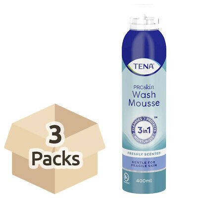 3x TENA Wash Mousse - 400ml - 3 in 1 Cleansing Body Wash