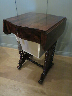 Rosewood Drop Flap Work Table Side Table Storage Drawer