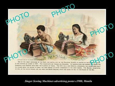 OLD LARGE HISTORIC PHOTO OF SINGER SEWING MACHINE AD POSTER c1900 MANILA