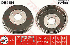 Mondeo 1.6 1.8 2.0 Petrol 94-00 Rear Brake Drum 229mm  x1