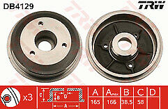 Peugeot 106 Citroen Saxo 3 stud wheel Rear Brake Drum 180mm NON ABS